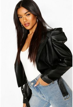 Black Puff Sleeve Faux Leather Biker Jacket