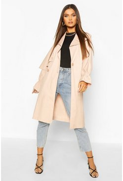 Blush pink Ruched Sleeve Belted Trench Coat