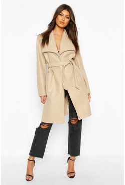 Stone beige Wide Collar Belted Wool Look Coat