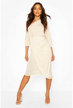 Champagne beige Textured Slinky Rouched One Shoulder Midi