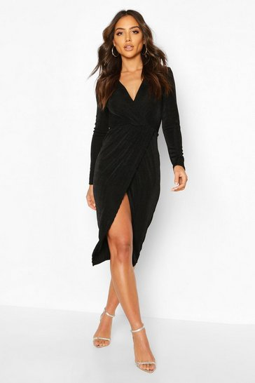 Black Textured Slinky Twist Detail Midi Dress