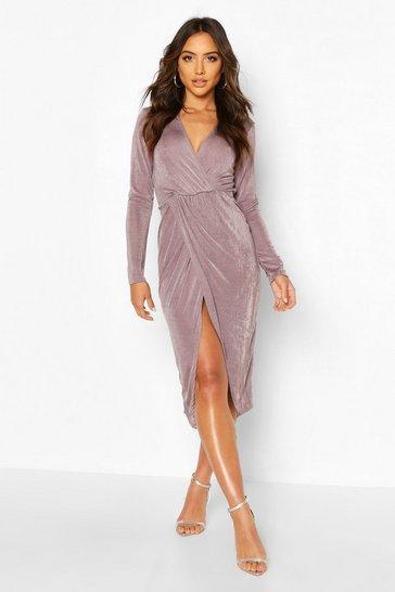 Charcoal grey Textured Slinky Twist Detail Midi Dress