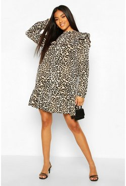 Black Leopard Print Ruffle Detail Drop Hem Shift Dress
