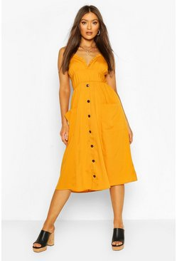 Strappy Ruffle Plunge Pocket Midi Dress, Mustard giallo