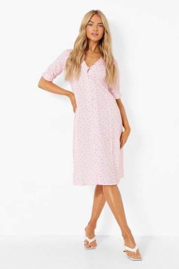 Pink Daisy Button Through Midi Dress