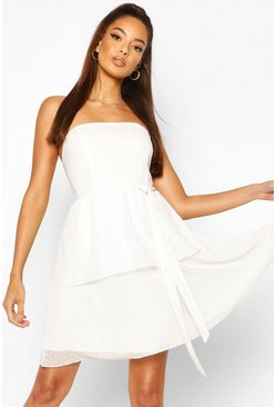 Ivory white Dobby Bandeau Belted Ruffle Hem Mini Dress