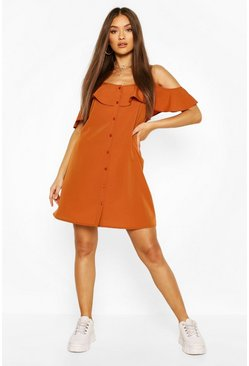 Tan brown Cold Shoulder Button Detail Slip Dress