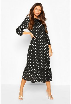 Oversized Polka Dot Smock Dress, Black