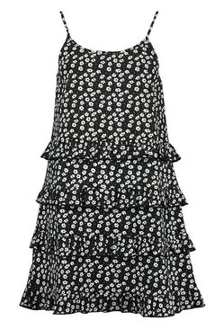 Black Mix Floral Dot Ruffle Tiered Cami Swing Dress