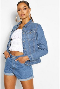 Mid blue blue Denim Western Jacket