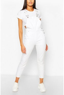 Denim Boyfriend Dungaree, White blanco