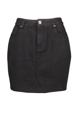 Black High Rise Denim Mini Skirt