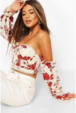 Rust orange Printed Lace Trim Off The Shoulder Crop Top