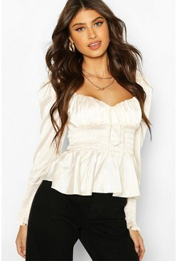 Ivory Satin Shirred Blouse