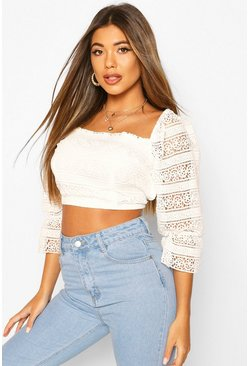 Ivory white Lace 1/4 Sleeve Strappy Back Top