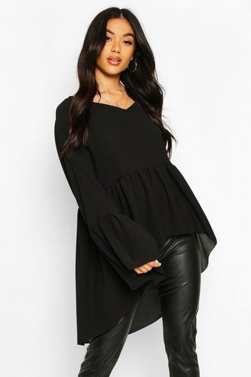 Black Woven Flared Sleeve Smock Top