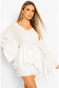 Ivory white Woven Flared Sleeve Smock Top