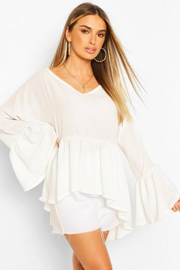 Ivory white White Woven Flared Sleeve Smock Top