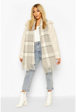 Grey Soft Check Oversized Fringe Scarf