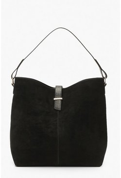 Black Croc Handle Suedette Structured Tote Day Bag