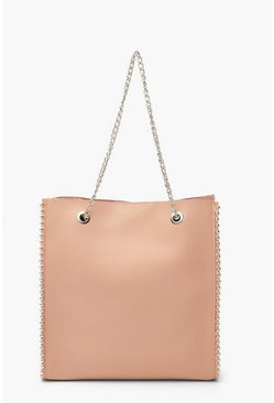 Blush Premium PU & Metal Bead Detail Tote Bag