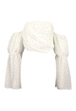White Polka Dot Off The Shoulder Puff Sleeve Top