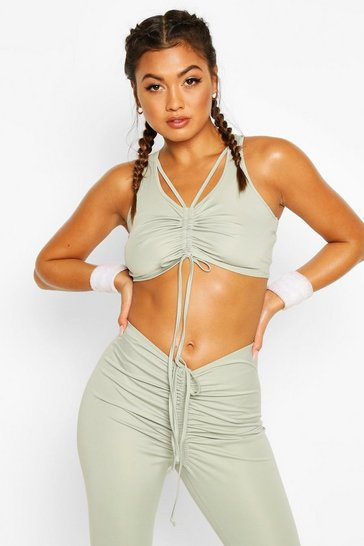 Sage green Fit Ruched Front Sports Bra