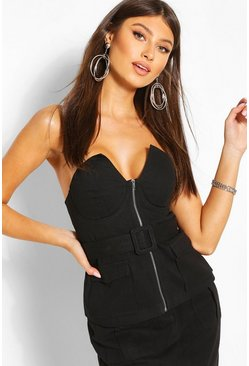 Buckle Detail Strapless Top, Black