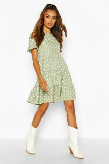 Sage green Polka Dot Ruffle Sleeve Smock Dress