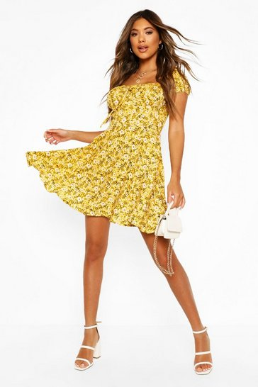 Yellow Floral Lace Up Skater Dress