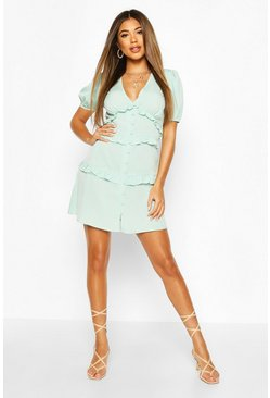 Sage green Ruffle Front Skater Dress