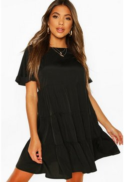 Black Woven Smock Dress