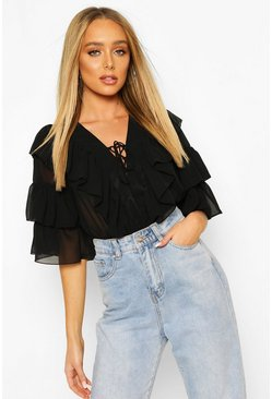 Zwart black Geweven blouse met ruches en kant