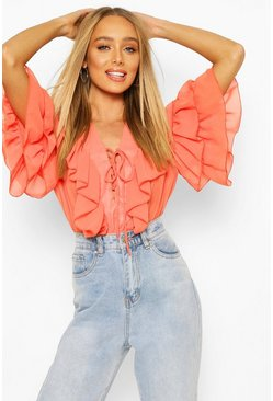 Orange Woven Ruffle Lace Up Blouse