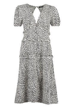 White Dalmation Print Ruflle Button Midaxi Dress