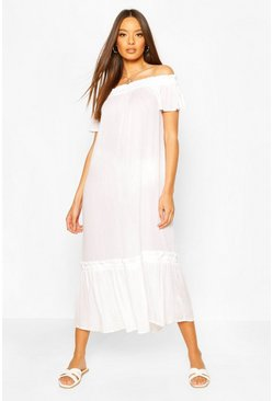 White Off The Shoulder Ruffle Cheesecloth Midi Dress