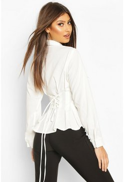 Cotton Ruched Waist Shirt, Ivory