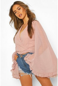 Mauve purple Dobby Chiffon Flared Sleeve Top