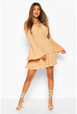 Sand beige Off The Shoulder Mini Dress