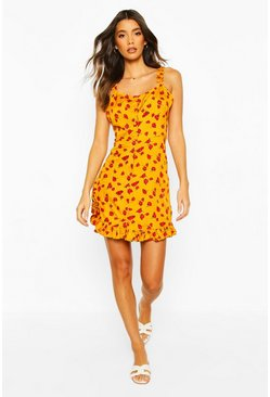 Mustard yellow Floral Ruffle Hem Button Front Sundress