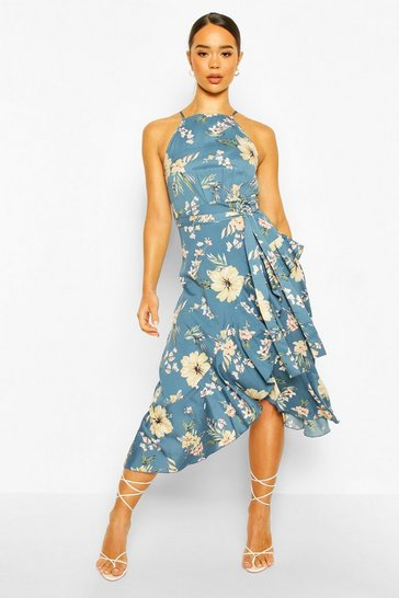 Blue High Neck Ruffle Floral Midi Dress
