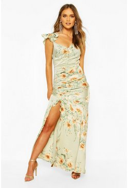 Sage green Floral Frill Strappy Sleeve Ruched Seam Split Maxi