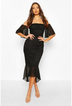 Black Mesh Frill Sleeve Lace Bodycon Midi Dress