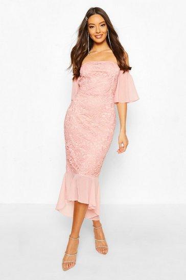 Pink Mesh Frill Sleeve Lace Bodycon Midi Dress