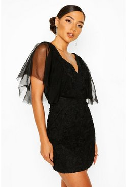 Black Heavy Lace Mesh Detail Mini Dress