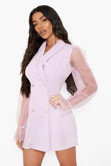 Lilac purple Organza Sleeve Button Detail Blazer Dress