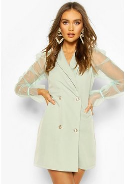 Sage Organza Sleeve Button Detail Blazer Dress