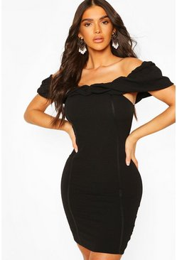 Black Textured Bardot Rouche Front Mini Dress