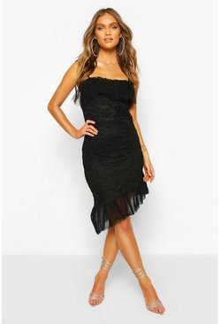 Black Strappy Lace Mesh Frill Hem Mini Dress