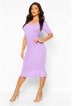 Lilac grey grey Jumbo Rib Peplum Hem Midi Dress